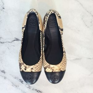 Tory Burch Snake Printed Leather Ballet Flats
